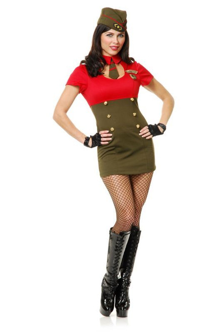 red & green ARMY BABE uniform adult womens sexy halloween costume LARGE