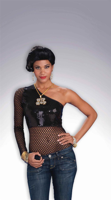 One-Shoulder Black Sequin Hip-Hop Top Adult Costume