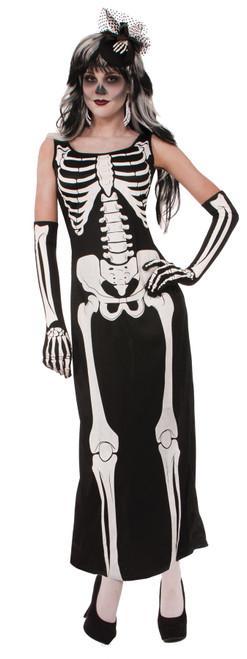 Long Skeleton Dress Costume Adult Standard
