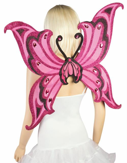 Fantasy Hot Pink & Black Glitter Wings