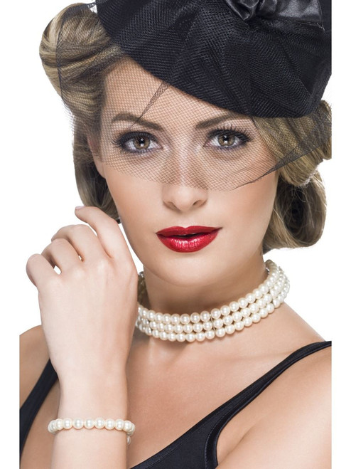 Vintage Faux Pearl Set with Bracelet and Choker