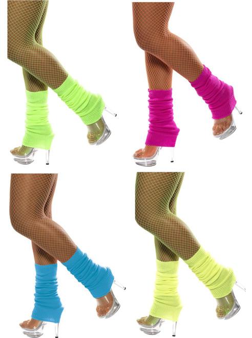 Womens Neon Bright Leg Warmers Flashdance Fame Danceware Leggins by Smiffy's