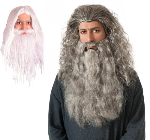 LOTR Gandalf Wig and Beard Hobbit Wizard Costume Accessory