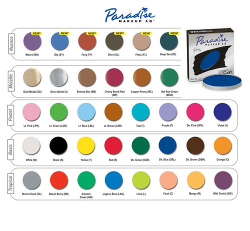 Paradise AQ Face Body Paint Mehron Makeup Refill Size 7 gm