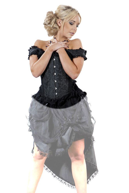 Duchess Overbust Corset in Black Scroll Brocade