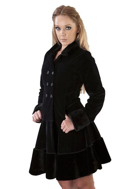Burleska Import from UK Women's Stylish Black Jacket Dark Coat Black Flock / Black Fur
