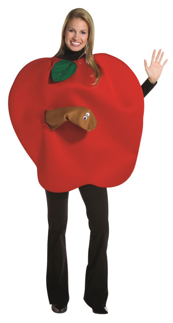 RED APPLE worm dentist teacher food womens mens adult costume halloween mascot