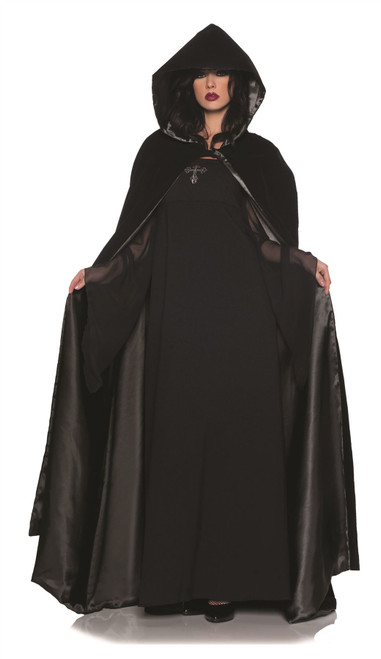 Black Velvet Satin Cape Costume Accessory
