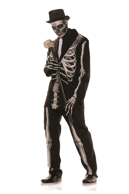 Mens Bone Daddy Skeleton Suit Costume