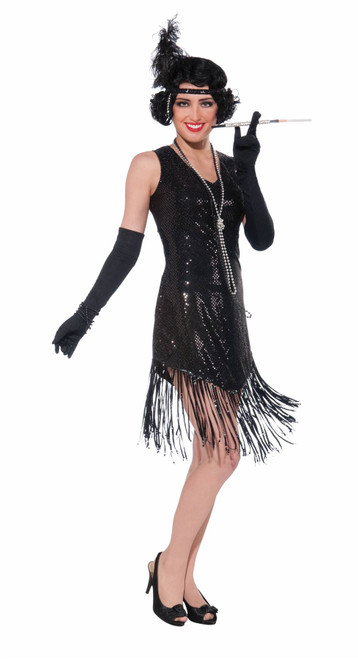 BLACK FLAPPER DRESS fringe womens gatsby 20's halloween costume