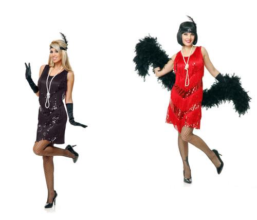 Flapper Dress Black 4-Tier Womens Costume