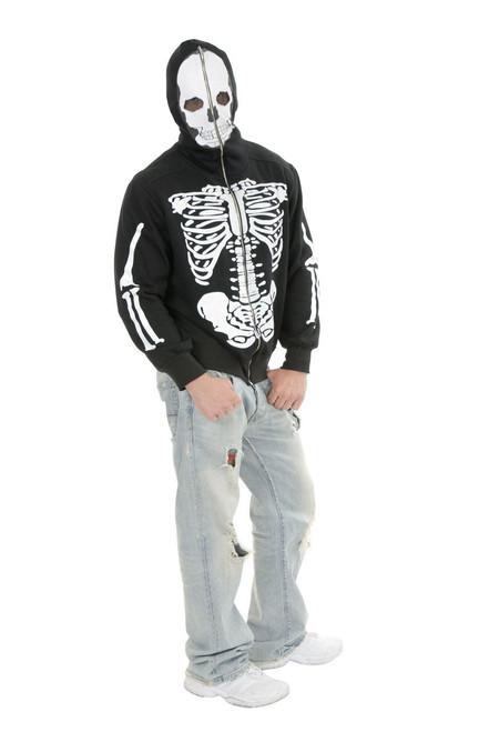Skeleton Hoodie Adult Black and White Costume