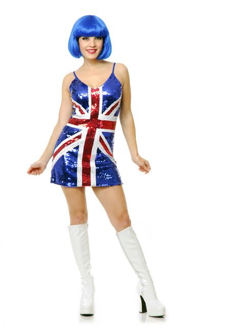 British Flag Sequin Dress Adult Women's Costume
