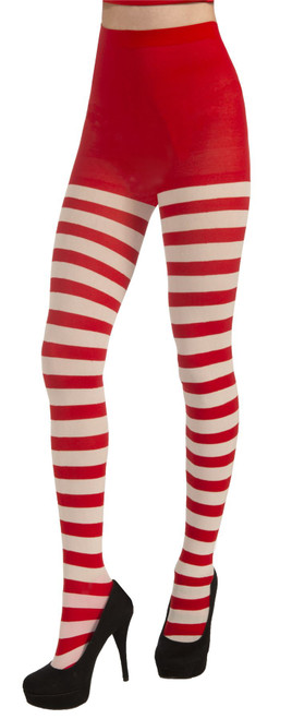 Candy Cane Tights Womens Red & White Striped Christmas Stockings
