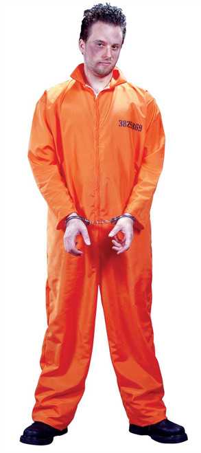 Busted Prisoner Jumpsuit with Handcuffs Adult Costume