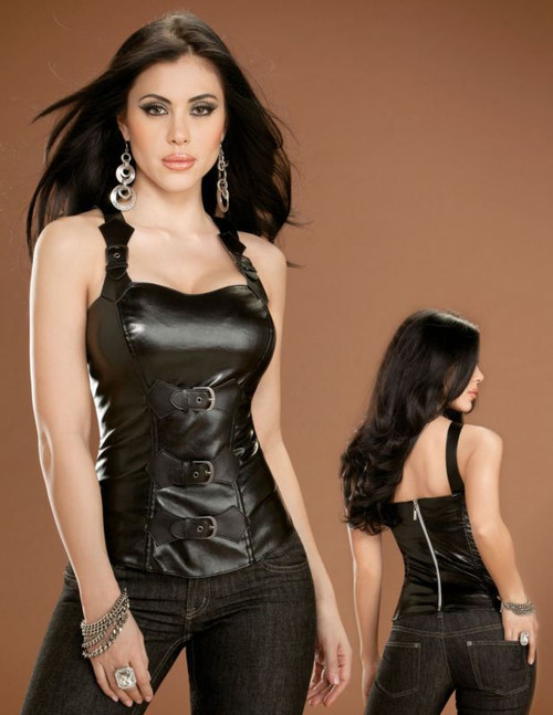 black faux leather buckle zip CORSET gothic womens costume 38