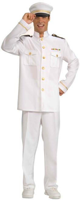 SHIP CAPTAIN cruise navy officer white uniform military mens halloween costume