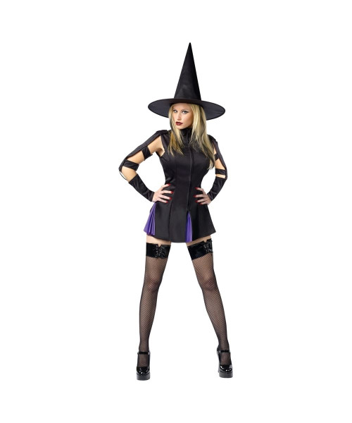 Sexy Wicked Witch Mini Dress Adult Costume