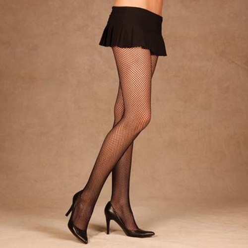 ONE black FISHNET STOCKINGS tights pantyhose hose womens sexy halloween costume