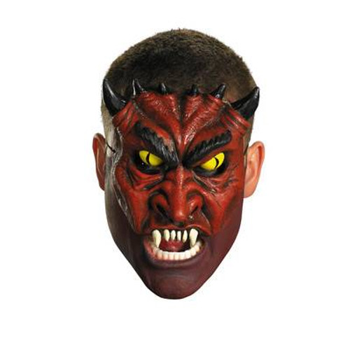 red BLOOD DEVIL MASK chinless adult mens horror halloween costume ONE SIZE