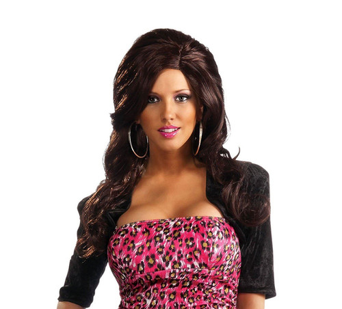 SNOOKI jersey shore brown brunette long hair WIG adult womens halloween costume