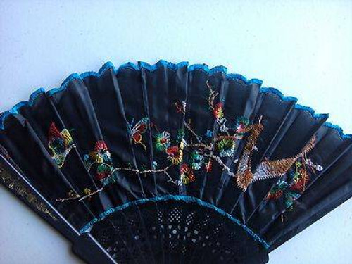 black ORNATE FAN asian geisha womens kids adult halloween costume
