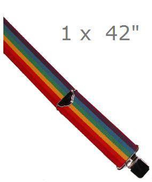 "RAINBOW SUSPENDERS gay pride adult mens womens clown costume halloween 1"" x 42"""