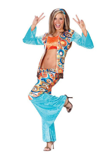 HIPPIE CHICK sexy adult womens halloween costume S M