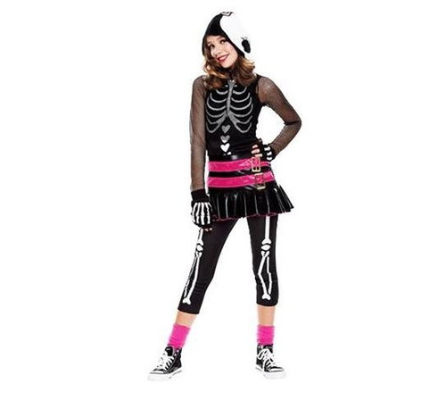 SKELETON hoodie SET gothic girls halloween costume L