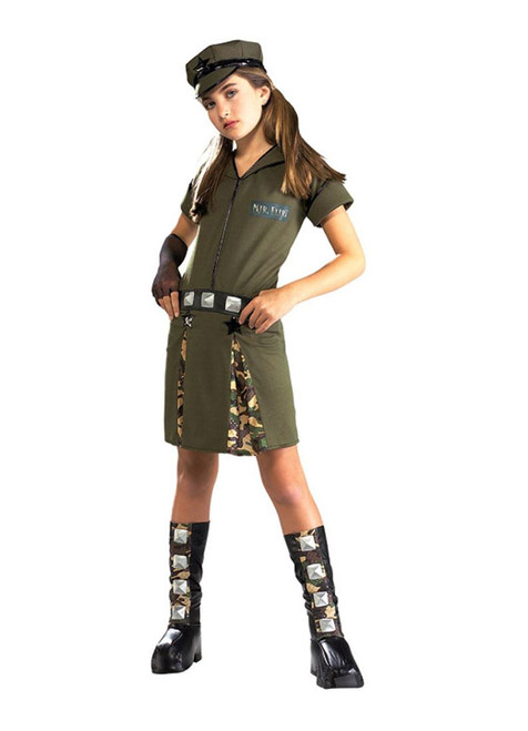 MILITARY GIRL major army dress girls halloween costume teen tween M 2-4