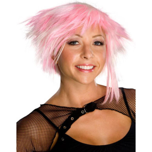 PINK PIXIE WIG cyber punk rock short hair womens adult costume accessory