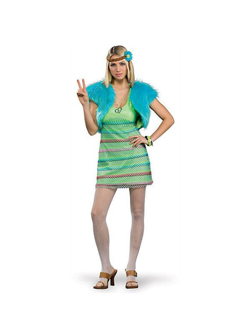 60s PARTY GIRL hippie disco dress adult womens halloween costume