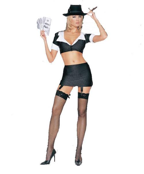 GANGSTER GIRL fishnet thigh highs pinstripe halloween sexy costume M/L 10-14