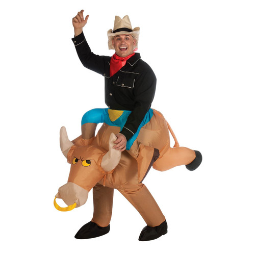 INFLATABLE BULL RIDER funny cowboy adult mens womens halloween costume ONE SIZE