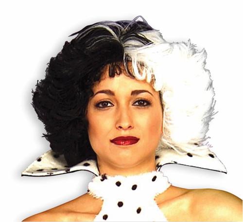 CRUELLA DE VIL WIG black white hair deville 101 Dalmatians costume accessory