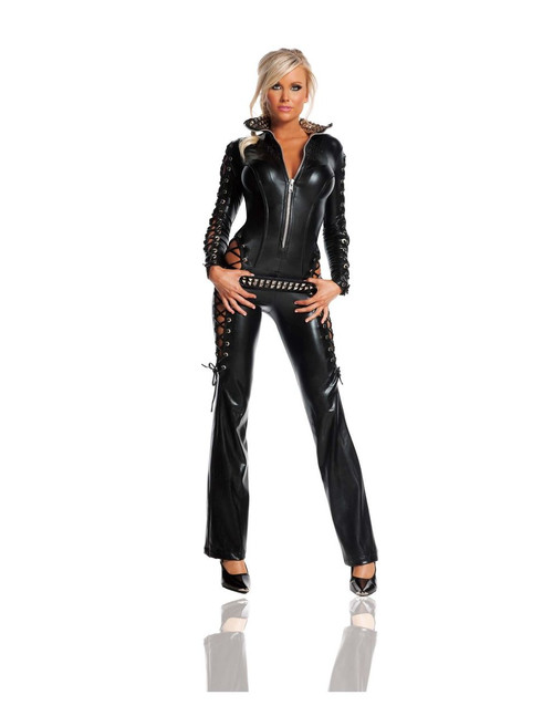 Leather Rebel Jumpsuit Women's Costume