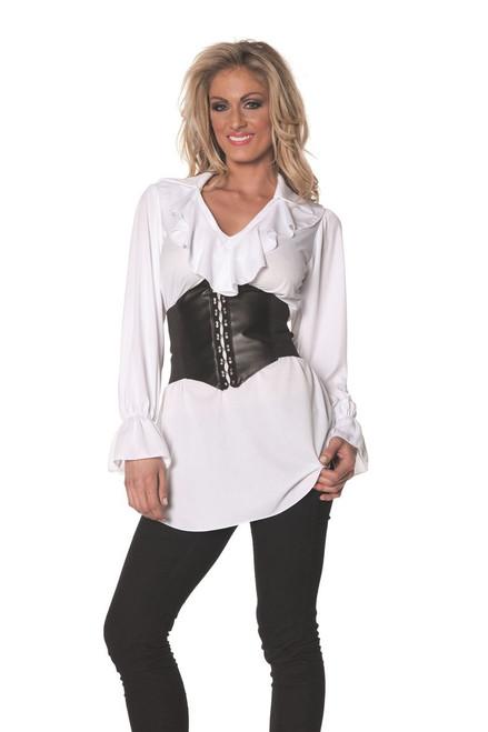 Pirate Ruffled Front Long Sleeve Shirt Steampunk Adult Womens Halloween Costume