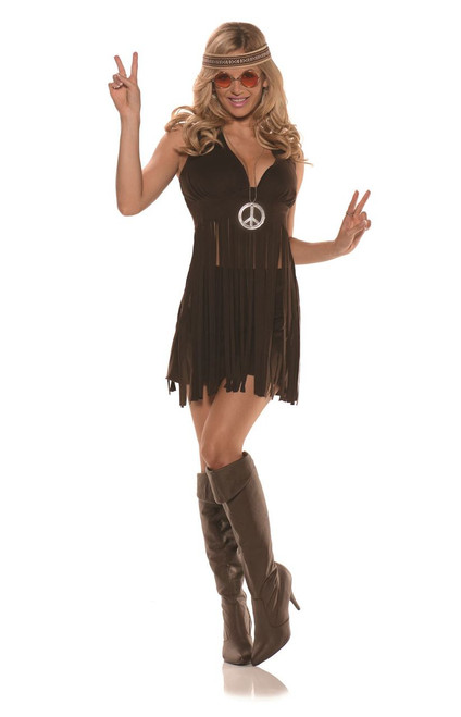 70's Hippie Flower Girl Faux Suede Womens Adult Halloween Costume