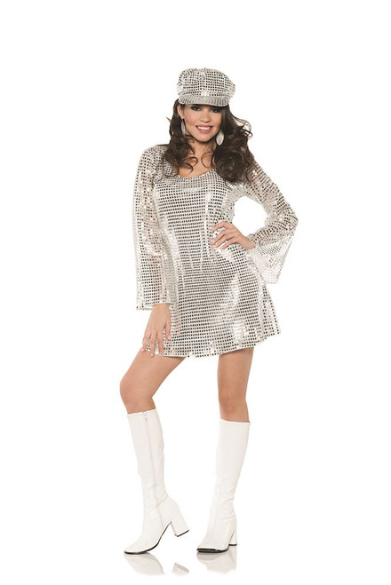 Silver Go Go Disco 70's Mini Womens Adult Halloween Costume