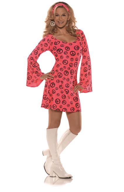 Neon Pink Go Go Mini Dress Adult Womens Halloween Costume