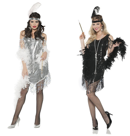 20s Swinging Flapper Sequin Dress And Headband Adult Womens Costume Set