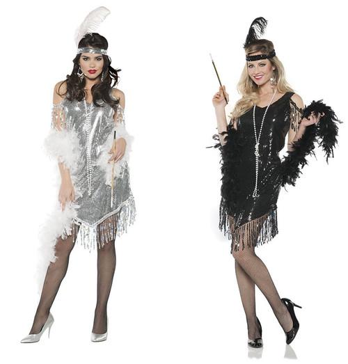 20s Swinging Flapper Sequin Dress And Headband Adult Womens Costume Set