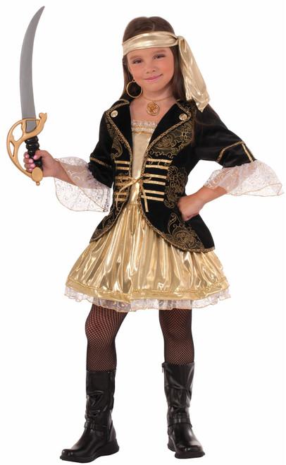 Golden Seas Pirate buccaneer  kids girls Halloween costume