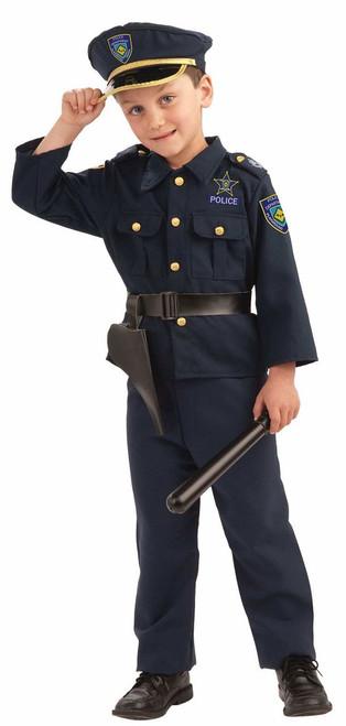 POLICE BOY blue cop officer uniorm boys kids navy costume halloween MEDIUM 8-10