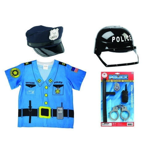 Aeromax Kids Police Outfit Bundle 1 of Each Shirt, Hat, Helmet, Police Kit and Cap