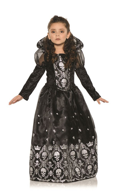 Girls Dark Princess Witch Renaissance Queen Kids Girls Halloween Costume