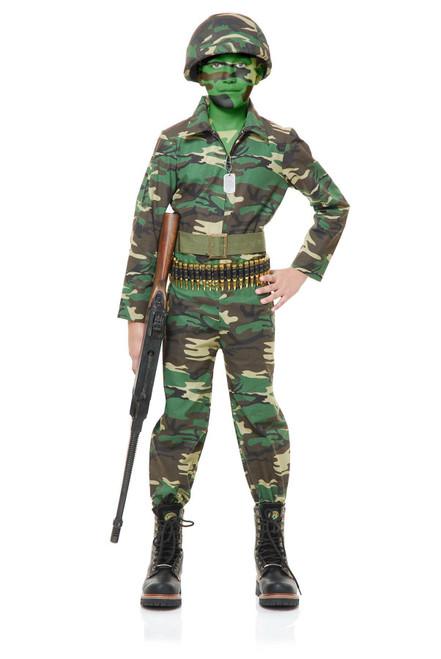 Boys Army Camo Halloween Costume Jumpsuit GI  Joe