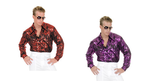 Disco Shirt with Flame Hologram Design Mens Costume