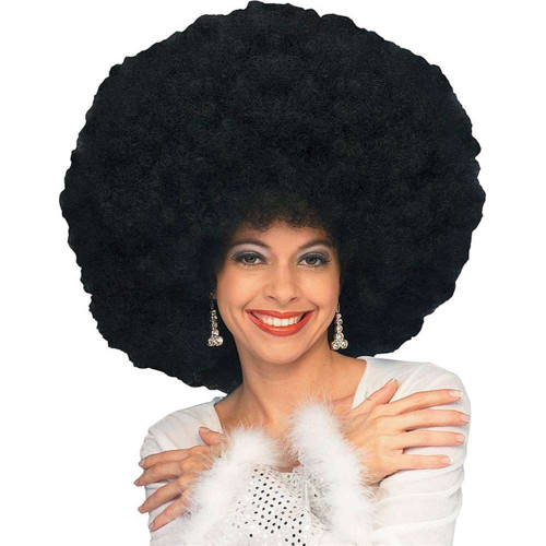 black deluxe Jumbo Afro WIG adult womens Disco 70s Halloween costume accessory