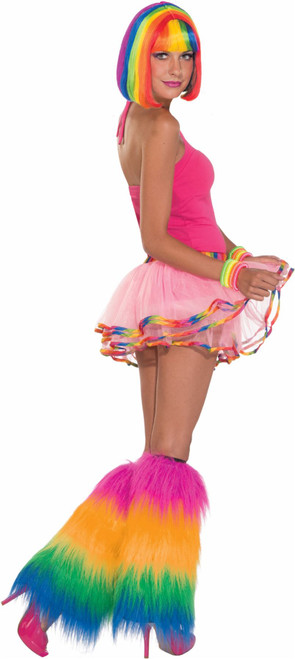 Rainbow Fur Leg Covers adult womens mens Halloween costume